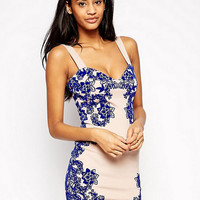Tile Print Strappy Bodycon Homecoming Party Dress