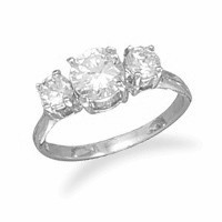 Rhodium Plated Ring with Three Round Cubic Zirconias