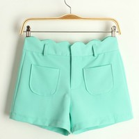 A 082717 z Department of sweet candy -colored wavy edge shorts