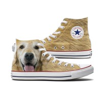 Big Face Golden Retriever Converse High Tops