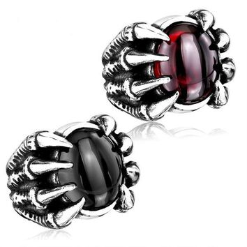 Gothic Heavy Metal Dragon Claw Ring