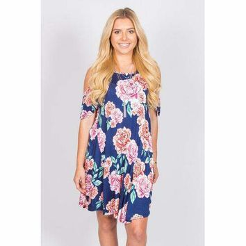 Floral Open Shoulder Tunic - Navy - S