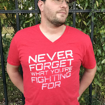 """Never Forget What You're Fighting For"" V-Neck Pocket Tee"