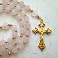 Pink Rosary, Rose Quartz Beads, Gold Crucifix, Sacred Heart of Jesus, Pink Prayer Beads, Religious Gifts, Catholic Rosaries