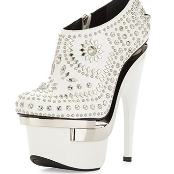 Versace Women Studded Leather Platform Bootie, White/Silver