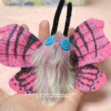 HOLIDAY SALE Moth Hair Clip Pink Striped Moth Barrette Glow In the Dark