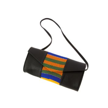 African Kente Cloth and Faux Leather Barrel Purse with Strap