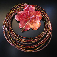 Copper Flower Necklace, Hibiscus Necklace, Copper Hibiscus Flower Pendant, Seed Beads, Multi Strand Necklace, Copper Seed Bead Necklace