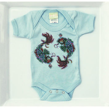 Boys Koi Fish Tattoo Bodysuit. Light Blue 3 or 6 months romper. Rockabilly Baby Trendy One-piece Kids Clothes. Cute Jumper Punk Creeper
