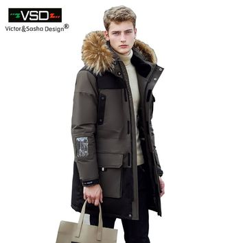 New Long Winter Down Jacket With Fur Hood Men's Clothing Casual Jackets Thickening Parkas Male Big Coat