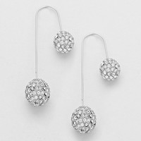 Double Rhinestone Balls Asymmetric Hook Earrings Silver