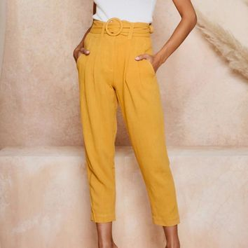 High waist sash belt women pants Elegant button office ladies  work pants Chic yellow pockets female trousers