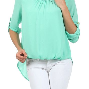 Solid Hi-Low Hem Button Enclosed 3/4 Sleeve Semi Sheer Chiffon Relaxed Blouse