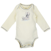 Long Sleeve Unisex Baby Onesuit w/ Imprints 2 Elephants