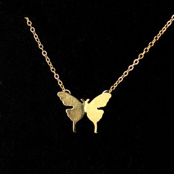 Gold Fashion Cute Butterfly Pendant Necklaces For Women
