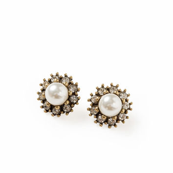 Josie Crystal Pearl Statement Earrings