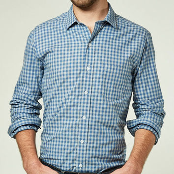 Heather Blue & Grey Gingham Check Shirt -  Spence