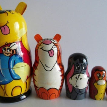 Whinny The Pooh matreshka traditional russian nesting doll toy made curved painted by hand collectible decorative wood holiday birthday