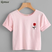 ROMWE Women Rose Embroidered Front Cuffed T shirt 2017 Summer Pink Casual Tops Round Neck Short SleeveT shirt