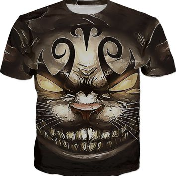Follow the white rabbit Alice ;) Cheshire cat reimagined, men fit t-shirt in brown