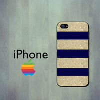 Navy Blue and Gold Glitter Stripe - Apple iPhone 4 Case or iPhone 5 Case - iPhone 4S case - Not Actual Glitter