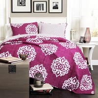 The Matilda Boho Bohemian Moroccan Pink 3 PC Quilt Bedding Set