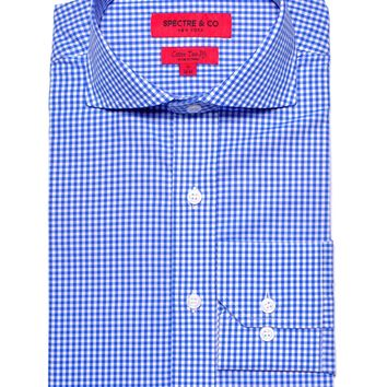 Blue Mini-Gingham Dress Shirt