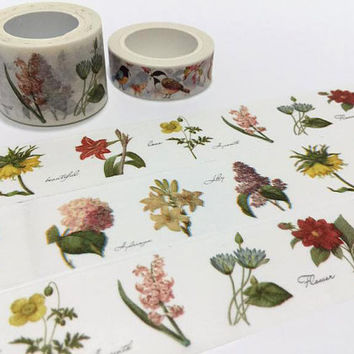 Retro flower masking tape 10M vintage flower washi tape gift branch of flower colourful flower garden sticker tape flower shop decor label