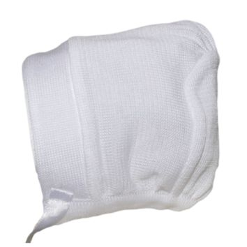 Boys 100% White Cotton Knit Hat w. Satin Ribbon Trim 0-24m