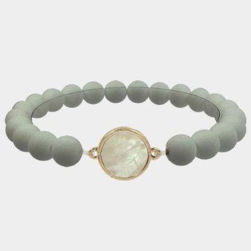 Round Mother Of Pearl Accented Stretch Bracelet