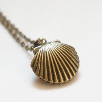 A Little Sea Shell - Vintage Style Antiqued Brass Sea Shell Locket Necklace
