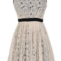 Classy Contrast A-Line Pleated Lace Dress in Ivory - WHAT'S NEW