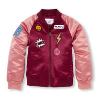 Girls Long Raglan Sleeve Patched Varsity Bomber Jacket | The Children's Place