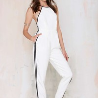 Finders Keepers Check the Rhyme Cutaway Jumpsuit