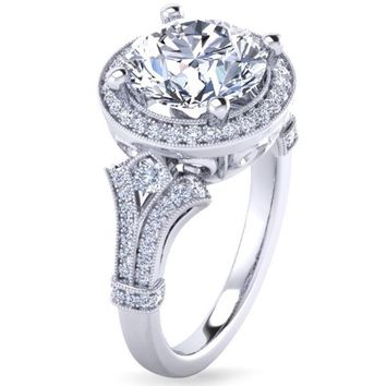 "Gabriel ""Delilah"" Large Center Vintage Style Diamond Halo Engagement Ring"