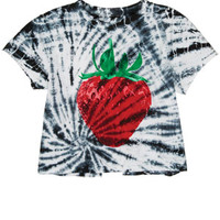 Tie-Dye Berry Split Back Tee - Multi
