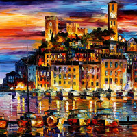 "Cannes, France — PALETTE KNlFE Landscape City Oil Painting On Canvas By Leonid Afremov Size: 40"" x 30"" (100cm x 75cm)"