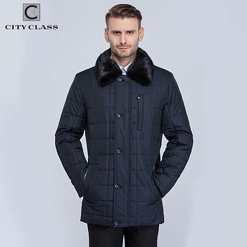 CITY CLASS New Men Business Coats Winter Warm Jackets X-long Thinsulate Classic Removable Lining Mink Collar Long Parkas CC15335