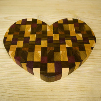 Heart Shaped End Grain Cutting Board/ Butcher Block