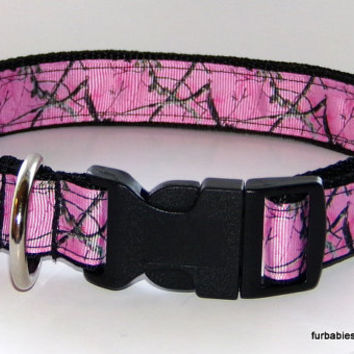 Pink twig camo print- adjustable pet collar and leash set -Choose your size.