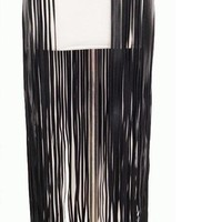 Long Fringe Belt Black Leather Designer Belts for Women
