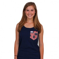 The Betsy Tank Top in Deep Sea Navy with American Flag Pocket by the Frat Collection