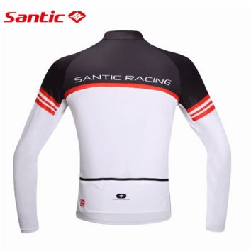 Santic Men Cycling Jacket Bike Racing Spring Fleece Cycling Jackets Windproof  Cycling Clothes Ciclismo Jersey Maillot M5C01063W