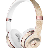 Faded Tan and Brown Ribbon Damask Pattern Full-Body Skin Kit for the Beats by Dre Solo 3 Wireless Headphones