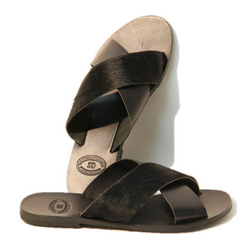 Black leather sandals, women sandals, greek sandals, authentic leather handmade sandals, women shoes, stylish sandals