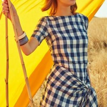 Dropwaist Gingham Dress by Atelier Delphine Blue