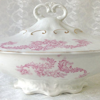 Antique French Covered Vegetable Dish, Pink Floral Casserole, Serving Bowl