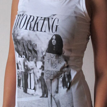 Working Class Girl Will Fuck For Shoes Womens Tank Top White Tank Tops size S M sleeveless T Shirt singlet Tanks Vest Tunic