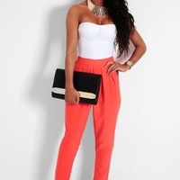 Siren Coral and Black Fitted Pocket Detail Trousers | Pink Boutique