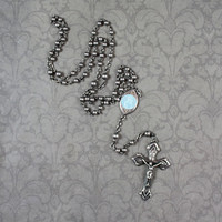 Vintage Sterling Silver Guilloche Blue Enamel INRI Rosary Necklace
